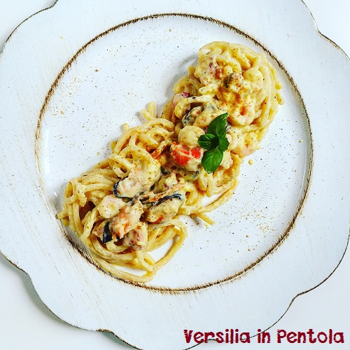 Pici in Carbonara di Mare con Bottarga