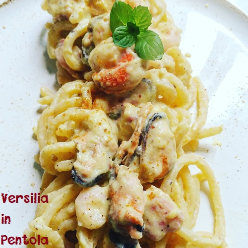 Pici in Carbonara di Mare e Bottarga